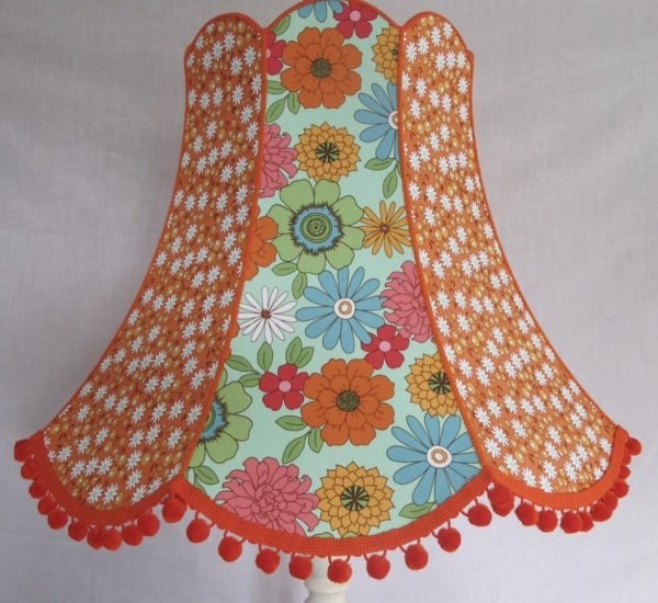 Large flower orange lampshade
