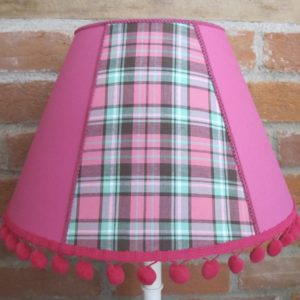 Pink check lampshade